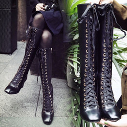 Wholesale Genuine Leather Over Knee Boots - 100% Genuine leather Handmade Shoes Women's Warm Long boots mid-heel Sexy Ledies Lace Up Booties Woman Over-The-Knee Boots