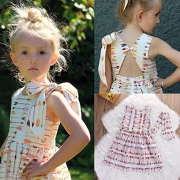 Wholesale Girls Clothing Leopard Print Dress - 2017 Kids Clothes Baby Girls Colorful Arrows Pattern Dress Summer Princess Party Backless Pageant Age 2-7Y