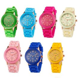 Wholesale Geneva Style Watch - Factory sales 2016 Rose-Gold style geneva watch rubber silicone jelly candy unisex quartz wrist watches 15 colors for men women