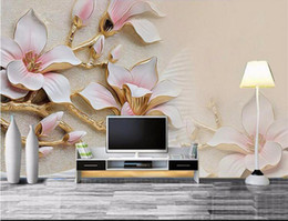 Wholesale Vintage Magnolia - Custom photo wallpaper 3d living room TV sofa rich three-dimensional relief magnolia bloom large mural 3d wall murals wallpaper