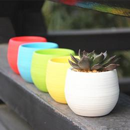 Wholesale Small Pot For Flowers - 4 inch Colorful Plastic Planter Succulents Flowerpot Desktop Tabletop Flower Planter for Home Office Decoration~Mixed Color
