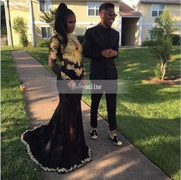 Wholesale Lilac Mermiad - 2017 Sexy New Black Chiffon Mermiad Prom Dresses High Neck Gold Lace Appliqued Top Sheer Long Sleeves Evening Dresses 2K17 Formal Party Wear