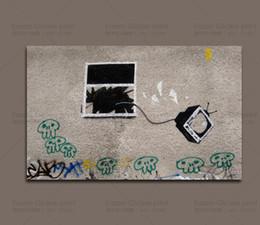 Impressão de fotos na china on-line-Impressão Da Foto Da Lona de Arte Da Lona Grande Barato Banksy Imagem para Casa Decoração Moderna China Atacado-Custom Impresso Lona