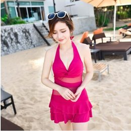 Wholesale Gathered Skirt - The new women's skirt swimsuit gather was thin conservative cover belly angle hot spring large size sexy swimsuit free shipping