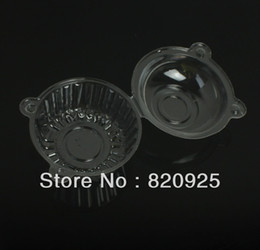 Wholesale Wholesale Clear Cup Cake Boxes - Wholesale- 100 X Clear Plastic Individual Cupcake Muffin Dome Holder Cases Boxes Cake Cups