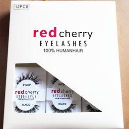 Wholesale Red Cherry Eyelash - RED CHERRY False Eyelashes #WSP #523 #43 #747M #217 Makeup Professional Faux Nature Long Messy Cross Eyelash Winged Lashes Wispies Extension