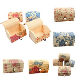 Wholesale Wooden Ring Jewelry Box - 4 Pcs Jewelry Bamboo Wooden Display Boxes Women Necklace Ring Earrings Storage Boxes Case 4 Colors
