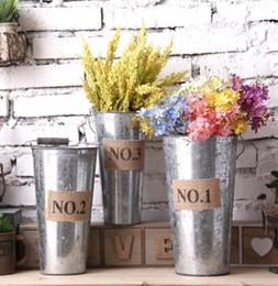 Wholesale Vintage Tin Containers - Retro Metal Planter Flowerpot Vintage Rustic Nostalgia Iron Buckets Garden Pots Tin Planters Bucket Storage Container KKA1587