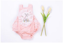 Wholesale Rabbit Romper - Baby Girls Clothing Lace Pink Summer Suspender Romper Cotton Rabbit Printed Cute Bow Children Kids Clothes