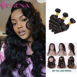 Wholesale Closure Cap - Pre Plucked 360 Lace Frontal Closure With 3 Bundles Brazilian Loose Wave Lace Frontal With Cap And Elastic Straps Knots Bleached