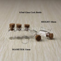 Wholesale Wholesale Vintage Glassware - 100pcs 0.5ml Glass Vials With Wood Cork Mini Bottle Vial small wishing perfume display bottle Vintage Glassware Clear