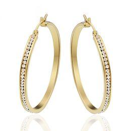 Wholesale Big Hoop Earrings For Women - PingLe 1Pair Large Big Hoop Earrings for Women Gold-Color Stainless Steel Brincos Europe Punk Pow172