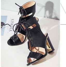 Wholesale Zip Up Ties - 2017 New white black lace up high tube thick heels gladiator sandals women summer shoes size 35 to 40
