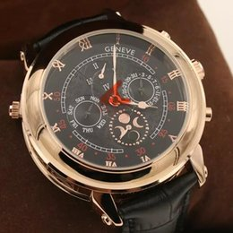 Wholesale Double Chronograph Watch Men - Free Shipping New Sports watch men Automatic Sky Moon Double Face Golden Stainless Steel Black Leather Band PP Men Watches Wristwatches