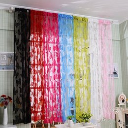 Wholesale Green Blackout Curtains - High Quality Tassel String Curtain Window Room Door Divider Curtains Valance Wedding DIY Home Decor Elegent Butterfly Curtain JI0243