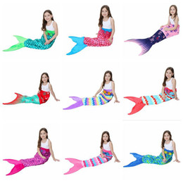 Wholesale Double Tail - Kids Mermaid Tail Blankets 56*135cm Mermaid Sleepping Bags Baby Children Double Layer Mermaid Fish Swaddle 13 Styles OOA3399
