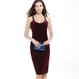 Wholesale Ladies Hot Red Night Dress - Women Hot Sale Summer Dress Velvet Strapless Neck Solid Color Fashion Clothing Ladies Sexy Backless Package Hip Elegant Party Dresses