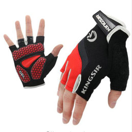 Wholesale Mitten Fingerless - 1 Pair Outdoor Sport Gloves Cycling Bike Bicycle Riding Gym Fitness Half Finger Gloves Shockproof Mittens S M L XL XXL