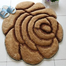 Wholesale Make Table Mats - 3D rose carpets and rugs for living room Carpet 90*90cm bedroom tea table sofa door Floor Rug soft ground mat red tapete
