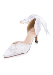 Wholesale White Bridal Shoes Pearls - Chic White Satin High Heels Bridal Shoes With Pointed Toes 2017 Pearls Wedding Shoes With Handmade Flowers Cheap Ankle Straps Women Shoes