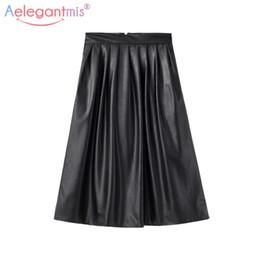 Wholesale Wholesale Black Leather Skirt - Wholesale- Aelegantmis 2017 Autumn High Waist PU Leather Skirt Women Long Black A-line Skirts Ladies Vintage Sexy Pleated Skirt With Pocket