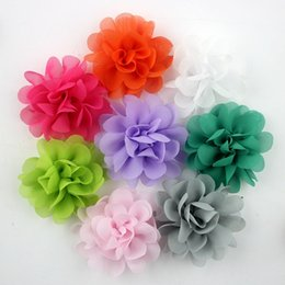 """Wholesale Chiffon Diy Bow For Hair - 50pcs lot 2.2"""" Baby Infant Multilayers Chiffon Fabric Flowers without hair clips For Kids DIY headbands Hair Styling Accessories"""