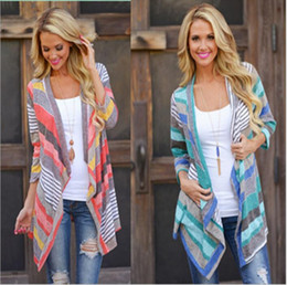Wholesale women jumpers cardigans - Knitted Jacket Striped Cardigans Fashion Outwear Women Vintage Coat Irregular Tops Loose Sweater Casual Blouse Pullover Thicken Jumper B2278