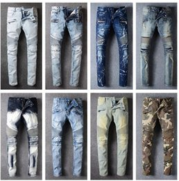 Wholesale Golden Pants - Senior designer brand 2017 New bicycle balm*in jeans Manual paste crystal golden wings black balm*in jeans Men's fashion crime zipper pants
