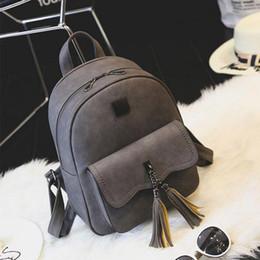 Wholesale Leather Fashion Backpack Vintage - Tassel Women Leather Backpack Teenage Backpacks For Girls Vintage Feminine Backpack School bag Travel Leather Backpack A1414