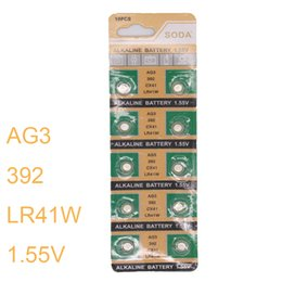 Wholesale Button Cell Batteries Lr41 - Wholesale- Brand New 10pcs set LR41 AG3 392A SR41SW 1.55V Cell Button Coin Battery Watch Toys Calculator