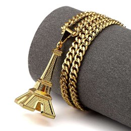 Wholesale Eiffel Jewelry - Gold Plated Eiffel Tower Pendant Necklaces For Men Women Hip Hop Jewelry Hipster Gift Fashion Long Necklace Jewellery