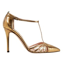 Wholesale Gold High Heels For Prom - Zandina Womens Fashion Handmade Gessica Barker Sarrie Satin High Heel Pumps T-strap Shoes for Prrty Dress Prom Gold