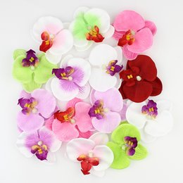 Wholesale White Orchid Heads - Wholesale-Mixed color Simulation butterfly orchid Flowers Silk Decoration Artificial Flowers Head 50pieces lot
