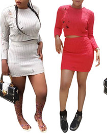 Wholesale Woollen Knees - New Sexy Women's Woollen Hand Made Crew Neck Long Sleeve Slim Club Mini Two-piece Set Dresses