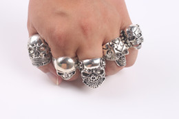 Wholesale Wholesale Biker Rings Free Shipping - OverSize Gothic Skull Carved Biker Mixed Styles lots 50pcs Men's Anti-Silver Rings Retro New Jewelry free shipping