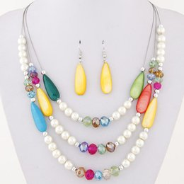 Wholesale Shell Beads Wholesale China - Bohemia Fine Jewelry Sets Candy Shell Crystal Pearls Beads Balls Collar Multilayer Chains Chokers Necklaces Drop Dangle Earrings For Women