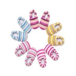 Wholesale Crochet Cute Baby Shoes - Baby First Walker Boys Girls Prewalker Kids Stripe Colorful Winter Autumn Newborn Knitted Shoes Cartoon Cute Moccasins