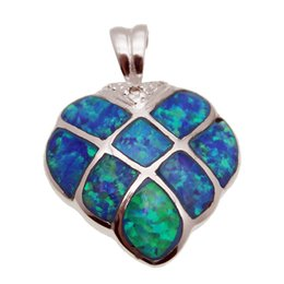 """Wholesale Princess Sterling Silver Pendant - Gemstone Pendants Necklace Natural Blue Opal 925 Sterling Silver Princess Gifts Strawberry Design Handmade 1"""" inch"""