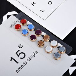 Wholesale Faceted Cabochon - Wholesale- New Colorful Round faceted cabochon Magnet Brooch Pin Crystal Hijab Pins Muslim Scarf Clips, 6 Pair Mix Color drop Shipping