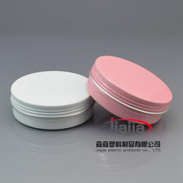 Wholesale Tin Cans Packaging Wholesale - Wholesale- 100pcs lot 100g Pink white Tin Gift Tin Metal Cans Candy in Box Tinplate Round Aluminum Tin Packaging Butter Case