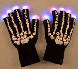 Wholesale Light Up Gloves Fingers - sports LED Skeleton Gloves Light Up Shows Light Up Knit Gloves Light Show Gloves for Party Birthday Halloween Costume Novelty Toy