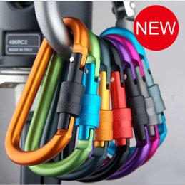 Wholesale Locking Carabiners Wholesale - High quality bold 8CM locking type D quickdraw carabiner buckle buckle hanging aluminum nut backpack buckle 8Color MIX b092