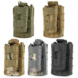 Wholesale Pistol Clips - 5 Colors MOLLE Tactical Open Top Double Decker Single Rifle Pistol Mag Pouch Cartridge Clip Pouch Hunting Bag
