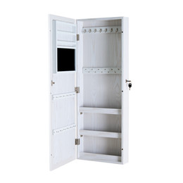 Wholesale Wood Jewelry Box White - White Wood Jewelry Cabinet Armoire with Mirror Jewelry Organized Storage Box for Necklace Rings and ect Stock in USA