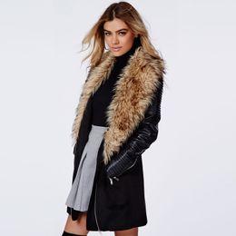 Wholesale Imitation Fur Jackets - 2017 autumn and winter new luxury imitation fur big lapel coat coat PU leather fold stitch coat windbreaker female jacket S-2XL