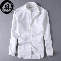 Wholesale Mens Yellow Plaid Shirts - Wholesale- Mens Shirts Long Sleeve Cotton Linen Mandarin Collar Casual Shirt Male Dress Shirts Slim Fit Shirt Men Chemise Homme TS-225