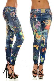 Wholesale Cowboy Leggings - Wholesale- Hot!!!women leggings Imitation cowboy printed leggings Single yard fitness for women sexy ladies butterfly pants