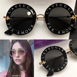 Wholesale Yellow Framed Sunglasses - New fashion women brand sunglasses 0113 round shape crystal frame fashion summer style Bee logo UV400 lens with new case