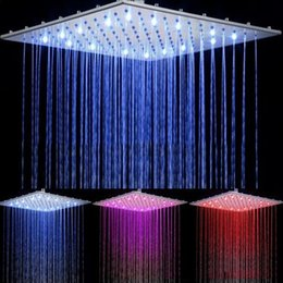 Wholesale Wall Mount Taps - Contemporary LED Waterfall Faucet Temperature Sensing Bathroom Rainfall Shower Heads Square Chrome Led Head 16-Inch Taps