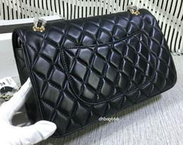 Wholesale Hw Fashion - Brand fashion 30cm lambskin Black totes top grade genuine Leather shoulder bag female all match handbag Large totes silver gold hw chain C